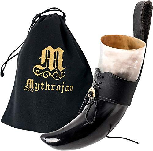Mythrojan Viking Drinking Horn Black Medieval Beer Drinking Horn Authentic Drinking Horn with Strap Norse Beer Horn Small Drinking Horn Mug Viking Ale Horn Cup 250 ml Viking Drink Horn Replica 8oz