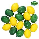 CEWOR 16pcs Fake Fruit Lifelike Lemons Simulation Lemon Artificial Fruit Decorations for Home House Kitchen Party Decoration (Green and Yellow)