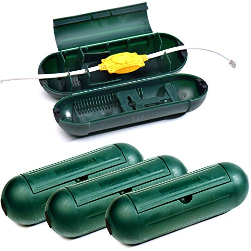 4 Pack Electrical and Extension Cord Protective Cover Set (Green) | Indoor Outdoor Water-resistant Holder for String Lights, Plugs and Wires | Capsule Shaped Protector with Large Compartment