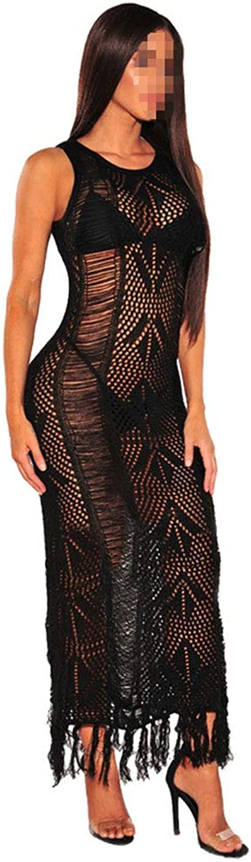Womens Tassel Perspective Dress,Sexy Skirt Night Club Bar Temperament Highend for Beautiful Evening Dress Party Cocktail Dress,Black,S