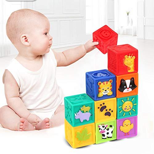 Hztyyier 9Pcs Bloques de bebé Bloques de construcción para niños pequeños Bloques de Juguete para niños Juego para el Aprendizaje temprano Números / Colores / Animales