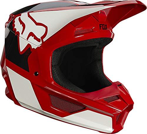 Fox Racing Mens V1 Motocross Helmet,Flame Red - REVN,Large