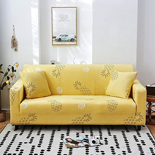 Funda Elástica de Sofá Cubre Antideslizante/Protector Ajustables de Sofá, Decorativas Fundas Piña Amarilla Impresa -para Sofas, con Cuerda de Fijación (1 Plazas:90-140cm)+1 Fundas de Almohada