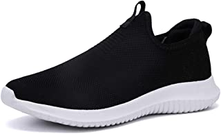 XUJW-Shoes, Fashion Running Sneakers for Men Athletic Sport Shoes Slip On Breathable Knit Mesh Fabric Lightweight High Elasticity Durable Comfortable (Color : Black, Size : 5.5 UK)