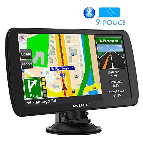AWESAFE 9 Pouce Appareil de Navigation Automatique pour Voiture Fonction Mains Libres avec écran...