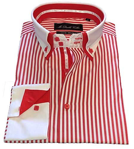 MrDoubleCollar Herren Hemd, italienisches Design, rote und schwarze Nadelstreifen, elegant, leger, formell, doppelter Kragen, langärmelig Gr. L, Rot / Weiß Nadelstreifen