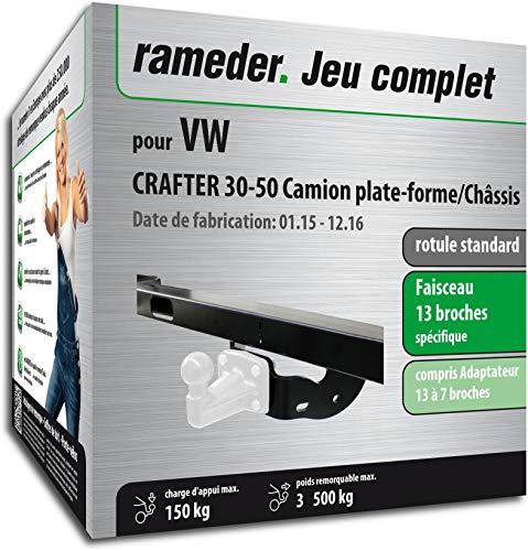 Rameder Pack, attelage rotule Standard 4 Trous livrée sans rotule + Faisceau 13 Broches Compatible avec VW Crafter 30-50 Camion Plate-Forme/Châssis (153609-05530-1-FR).