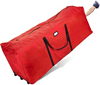 """Primode Holiday Rolling Tree Storage Bag, Extra Large Heavy Duty Storage Container, 25"""" Height X 20"""" Wide X 60"""" Long with Wheels and Handles (Red)"""