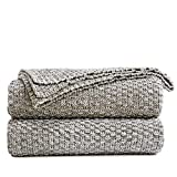 Longhui Bedding Knitted Throw Blanket for Couch – Soft, Cozy Machine Washable 100% Cotton Sofa Blanket, Heavy 2.5lb Weight, Laundry Bag Included, Grey and White