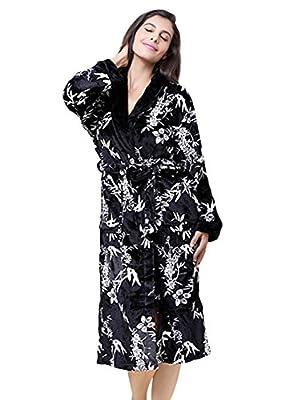 Tortor 1Bacha Women's Leaf Flower Print Plush Fleece Robe Long Bathrobe