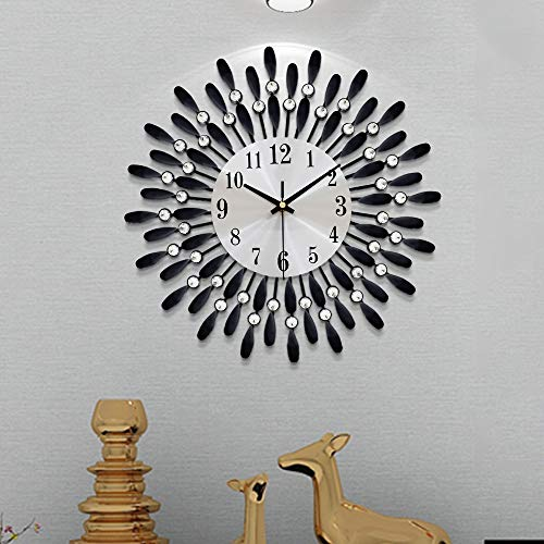 FLEBLE Modern 14 inch Metal Wall Clock Silver Dial with Arabic,Non-Ticking Silent Digital Black Drop Clock Home Decor for Bedroom,bedrooms Kitchen and Small Areas Space