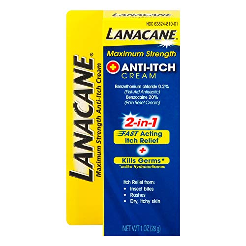 Lanacane Maximum Strength Antiitch Cream Antiseptic For Fastacting Itchy Skin Relief From Insect Bites Rashes amp Dry Skin Cools amp Soothes For Instant Relief With Benzocaine 1 oz Pack of 3