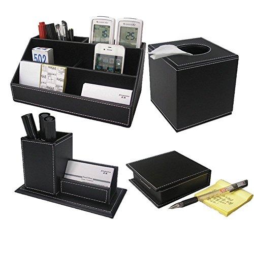 KINGFOM 4pcs Leder büro Schreibtisch Set - Inklusive Schreibtisch Organisator, Kosmetiktücherbox, Stifthalter mit Visitenkartenhalter und Zettelbox (T42-4-Schwarz)