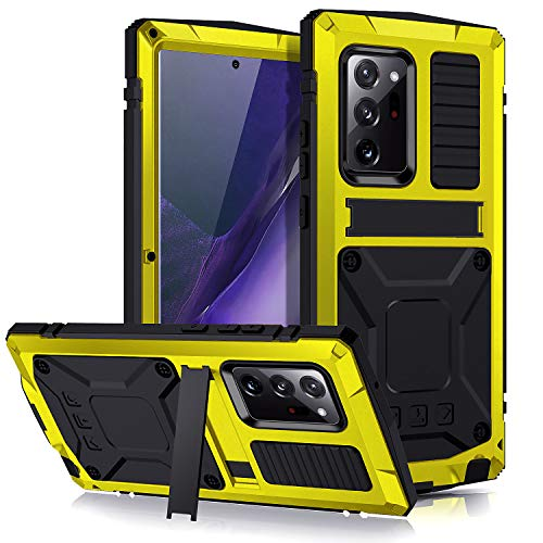 Petocase Compatible Galaxy Note 20 Ultra Heavy Metal Case Drop Tested Screen Protector Military Rugged Shockproof Kickstand Sturdy Full Cover for Samsung Galaxy Note 20 Ultra- Alloy Yellow