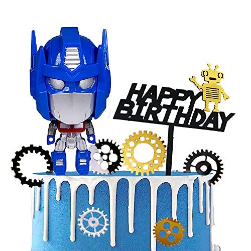 YGCHEN Decoración de Pastel Para Transformers para Tarta Happy Birthday Cake Topper Pastel Decoración Cumpleaños Mini Juguetes Fiesta de Baby Shower
