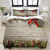 Funda nórdica 1203 con diseño de coche de Navidad y camiones rojos con árbol de Navidad para el Año Nuevo, juego de ropa de cama ultra cómodo y ligero microfibra
