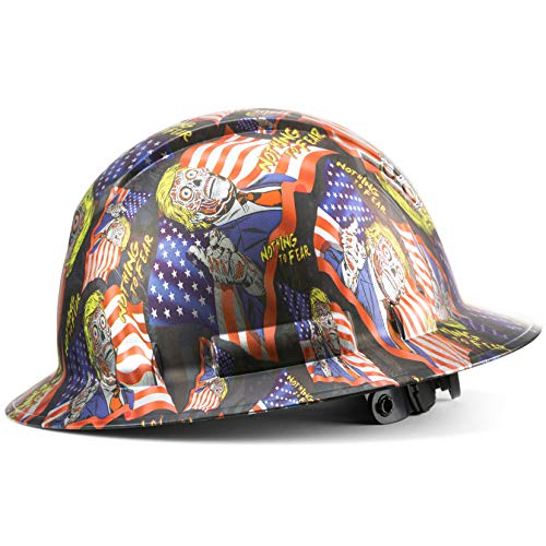 Full Brim Pyramex Hard Hat, Custom Nothing to Fear Zombie Trump Design Safety Helmet, With 6 Point Suspension, by Acerpal