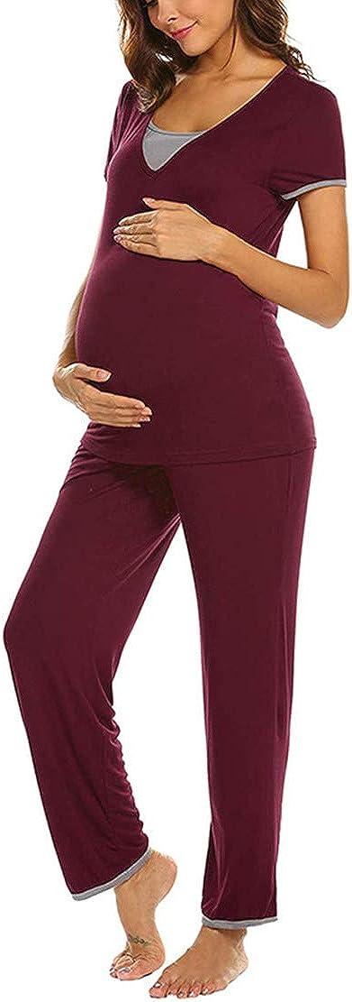 Pigiama Due Pezzi Allattamento Donna Pigiami Premaman maternit/à Manica Corta Top con Pantaloni Estate Set S-XXL