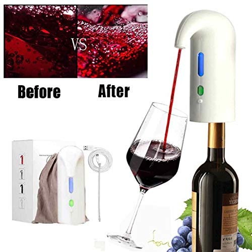 Electric Wine Aerator, Aireador de Vino Eléctrico Portátil, Agregar Oxígeno Luz Roja Fuerza Magnética Decantador de Vino Instantáneo, Dispensador de Bomba One-Touch Automatic USB Recargabl White
