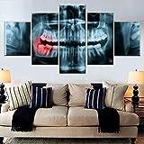 5 piezas Panorámico Dental X RayCanvas Pintura Impresión al óleo Póster Imagen HD para sala de estar Oficina Decoración del hogar-150 * 80 cm-Enmarcado