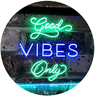 Good Vibes Only Home Bar Disco Room Display Dual Color LED Neon Sign Green & Blue 400 x 300mm st6s43-i3076-gb