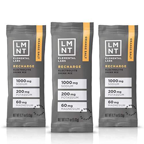 LMNT Keto Electrolyte Drink Mix | Paleo Hydration Powder| No Sugar, No Artificial Ingredients | Orange Salt | 30 Stick Packs
