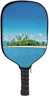 YOLIYANA Island Fashion Racket Cover,Uninhabited Island at Philippines Beach Palm Trees Forest Tropical Vacation Picture for Playground,8.3