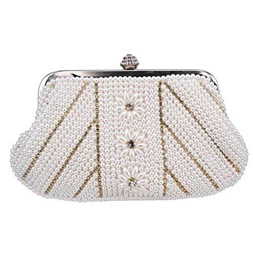 Pochette Donna Pochette Di Perle Alla Moda Borse Da Sera Morbide Con Perline Bianche Crema Borsa Da Festa-Bianco