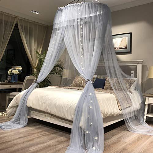 ASDFGH Verschlüsselung Double-Layer Prinzessin betthimmel, Verdicken sie Kinder moskitonetz Spitzen-kuppel Bett Baldachin Netting Hält Insekten & fliegen-E 200x200cm(79x79inch)