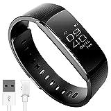 【日本公式ライセンス取得商品】 日本語対応 PMJ iWOWNfit i6 Pro ((アップデート対応版)) 活動量計 スマートブレスレット 〔 iPhone & Android スマホ対応 〕 / 24時間自動測定 健康サポート 歩数計 心拍計 睡眠計 有機EL IP67防水防塵 Bluetooth4.0 ≪ 日本語アプリ & ガイド / 国内サポート あり≫(PRO ブラック)