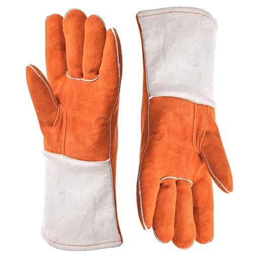 Seil Bissfeste Handschuhe ,Tier Rindsleder Stichsichere Sicherheit Beißen Schutzhandschuhe Handschuhe, Grillhandschuhe , Anti-Biss-Schutzhandschuhe für Hund, Katze, Reptil , Orange ( Color : Orange )