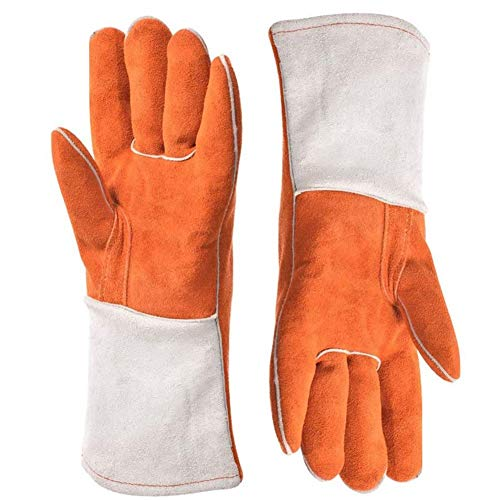XINGSEB Rope Animal Handling Gauntlet, Durable Leather Safety Gloves, Scratch/Bite Resistant Protection Gloves, Perfect for Bathing, Grooming, Handling Dog Cat Bird Reptile Supplies (Color : Orange)