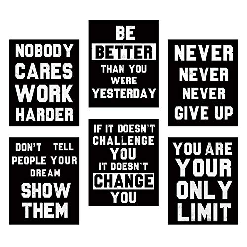 Homanga Inspirational Wall Art, Motivational Wall Art Posters, Quotes Dorm Decor for College Girls & Boys, Set of 6, Sayings For Ofiice Wall Decor, Canvas Prints 8x10 Inch Unframed