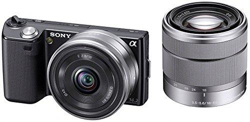 ソニー SONY ミラーレス一眼 α NEX-5 ダブルズームレンズキットE16mm F2.8+E18-55mm F3.5-5.6 OSS付属 ブラック NEX-5D B