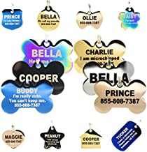 Engraved Dog Tags Personalized - Stainless Steel Engraved Dog Cat ID Tags Front & Back up to 8 Lines of Text Color Plating Gold, Rose Gold, Blue, Black, Nebula by PetANTastic