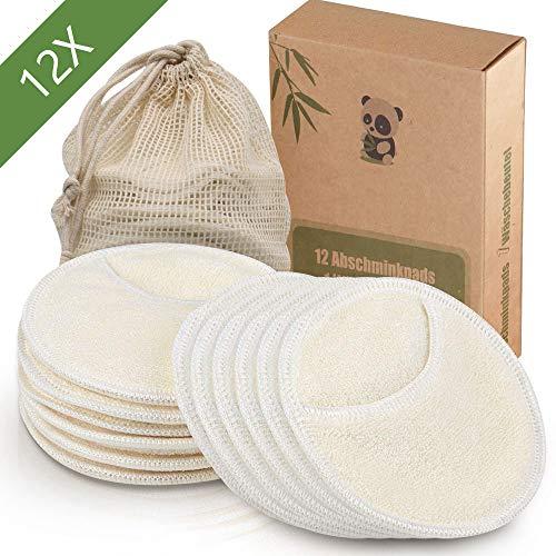 12 Stück Waschbare und wiederverwendbare Abschminkpads aus Bambus,1 Waschsack aus Baumwolle,Umweltfreundliche Alternative zu Wattepads,Less Waste | Extrem Weich, perfekt für Gesichtsreinigung