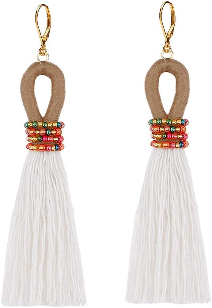 Vintage Clip on Earrings non Pierced Dangle Colorful Beads Thread Tassel Lightweight Women Girl Yellow
