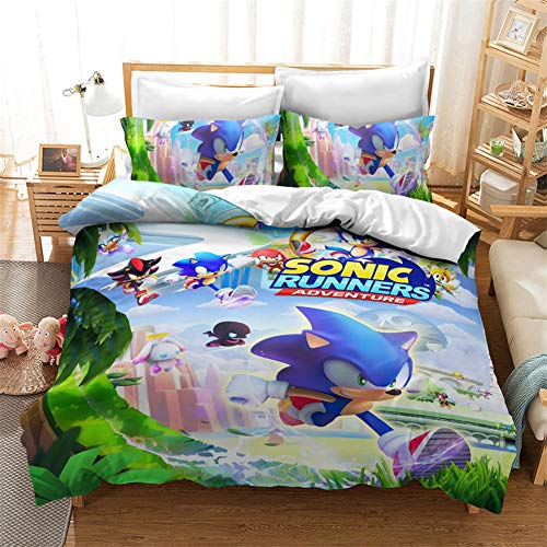 Anwind Bedding Set Sonic The Hedgehog Printed Japanese Anime Characters Duvet Cover and Pillowcase Bedroom Decoration Bedding Set for Boys Girls Teens (A-6, Double 200x200cm)