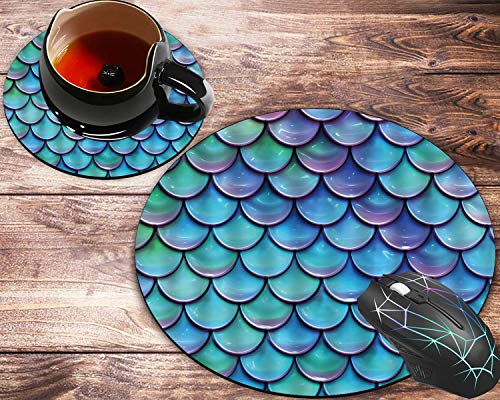 Round Mouse Pad and Coasters Set, Fish Scales Purple Blue Mousepad, Non-Slip Rubber Round Mouse Pad, Customized Mouse Mat for Working and Gaming