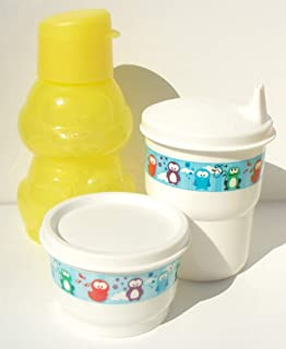 Tupperware Yellow Bunny Mini Sports Bottle Eco Animals Snack Cup Sippy Tumbler Set