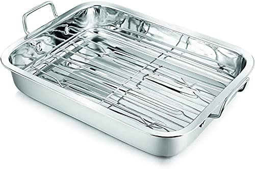 Penguin Home 3008 Stainless Steel 37cm Roasting Tray with Grill Rack, Mirror Finish, Large |Size with Handles - 41 x 28.3 x 9.3cm||Tray Size (without handles) - 37x28.3x6.5cm| for Oven