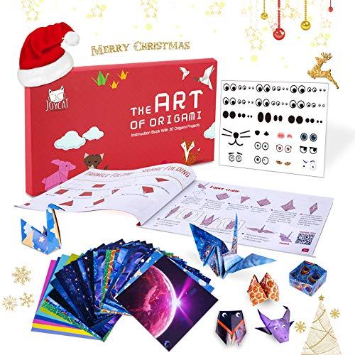 JoyCat Origami Papier Set, 90 Blatt doppelseitiges Origami Papier natürliche Muster 30 Origami-Projekte Bastelanleitung Booklet für Anfänger-Training und Schul-Bastelunterricht