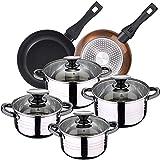 Bateria de cocina 8 piezas apta para induccion SAN IGNACIO Hita en acero inoxidable con juego de sartenes Brown Neon (20 y 24 cm) en aluminio forjado