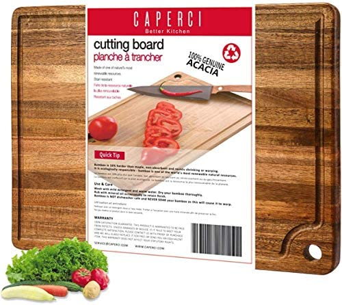 Large Acacia Wood Cutting Board for Kitchen Caperci Better Chopping Board with Juice Groove product image