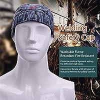 洗える難燃性耐火ヘッド保護溶接帽子バンダナ型抗火傷帽子ワークキャップ溶接保護-青い