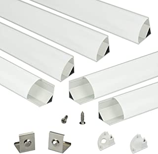 Muzata 6PACK 1M/3.3ft V-Shape LED Aluminum Channel System with PC Cover, Complete Mounting Accessories,Suit for 3528, 5050 & 5630 Strip Lights with Installation Video V1SW,Series LV1