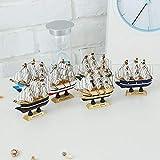 Hummla - Decoración de barco de vela de madera (10 cm), diseño mediterráneo