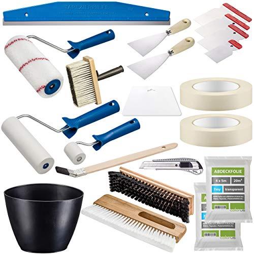 Colorus Profi Tapezier Set 18-teilig | Tapezierwerkzeug Set für Vliestapete Renovierungsset | Cuttermesser Andrückroller Tapezierbürste Deckenbürste Kleisterwalze | Malerwerkzeug Malerbedarf