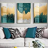 SXXRZA Impresión de Lienzo 3 Piezas 30x50 cm sin Marco Abstracto Azul Dorado Lienzo póster Arte de Pared Imagen de Pared Moderna para Sala de Estar decoración del hogar póster