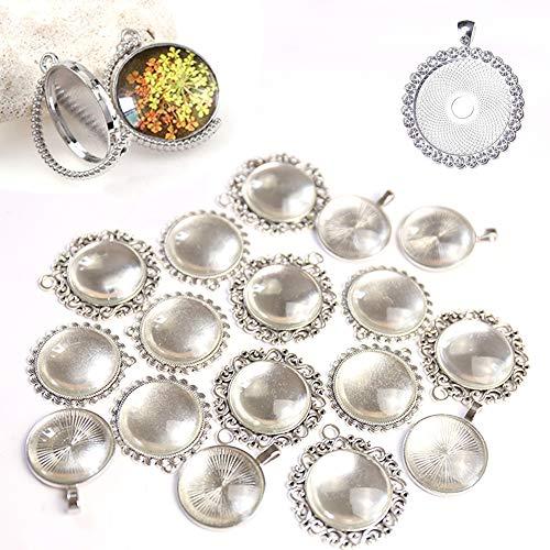 DAHI 44 Stück Anhänger Tablett Lünette und Glas Cabochon Retro Glaskuppel Bastelset für DIY Souvenir Dild Medaillon Halskette Geschenk Schmuckherstellung (silber)